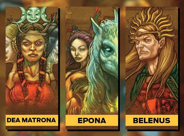 Dea Matrona deusa mãe do destino e do alimento Epona deusa da terra seu cavalo representa o vigor e a fertilidade Belenus deus celta da luz e do sol