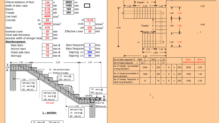 Design Of Stair Case With Central Stringer Beam Spreadsheet Staircase Stairs Spreadsheet