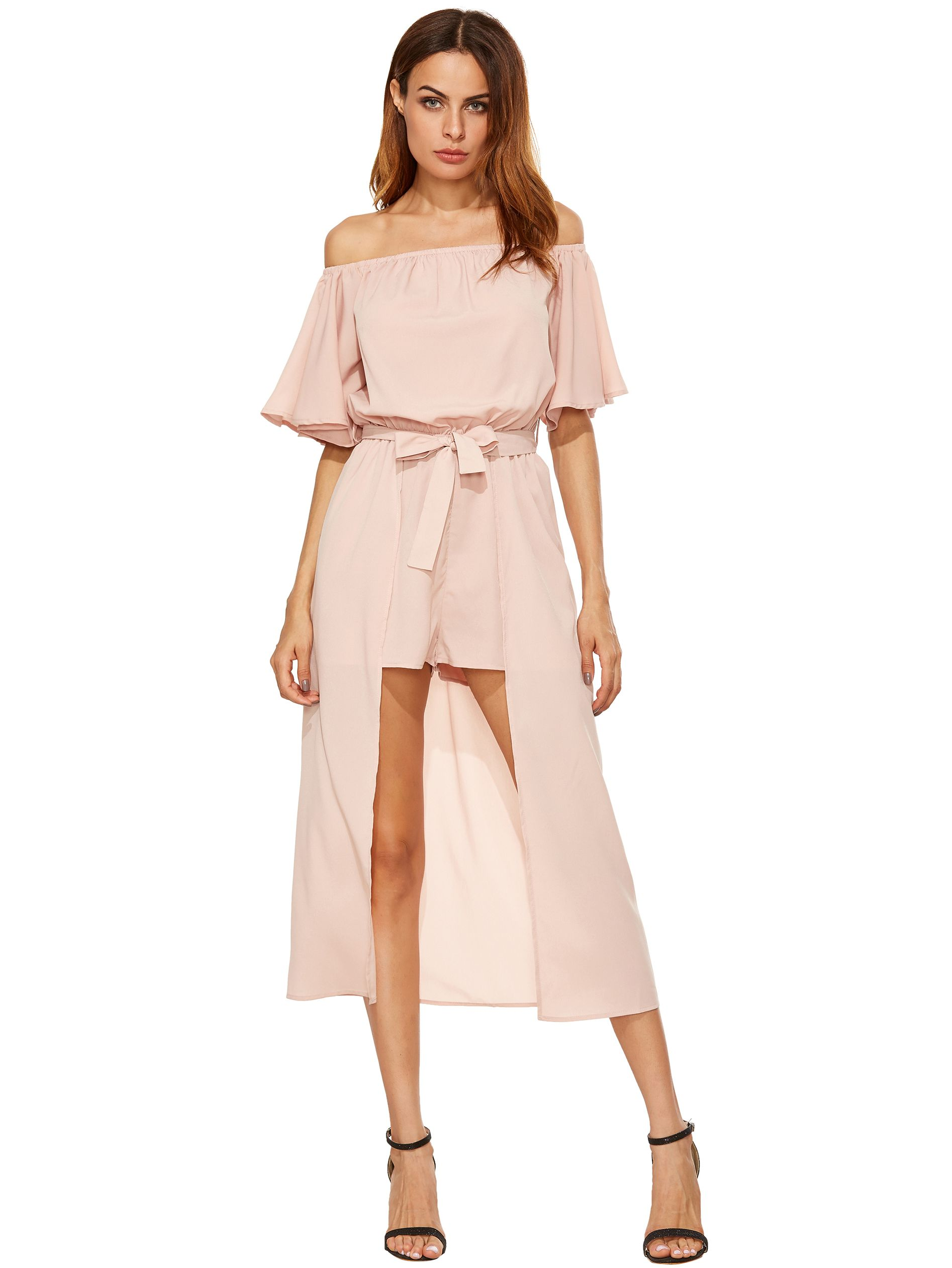 44e1d80562ad2 Off The Shoulder Jumpsuit With Skirt Overlay | Clothes in 2019 ...