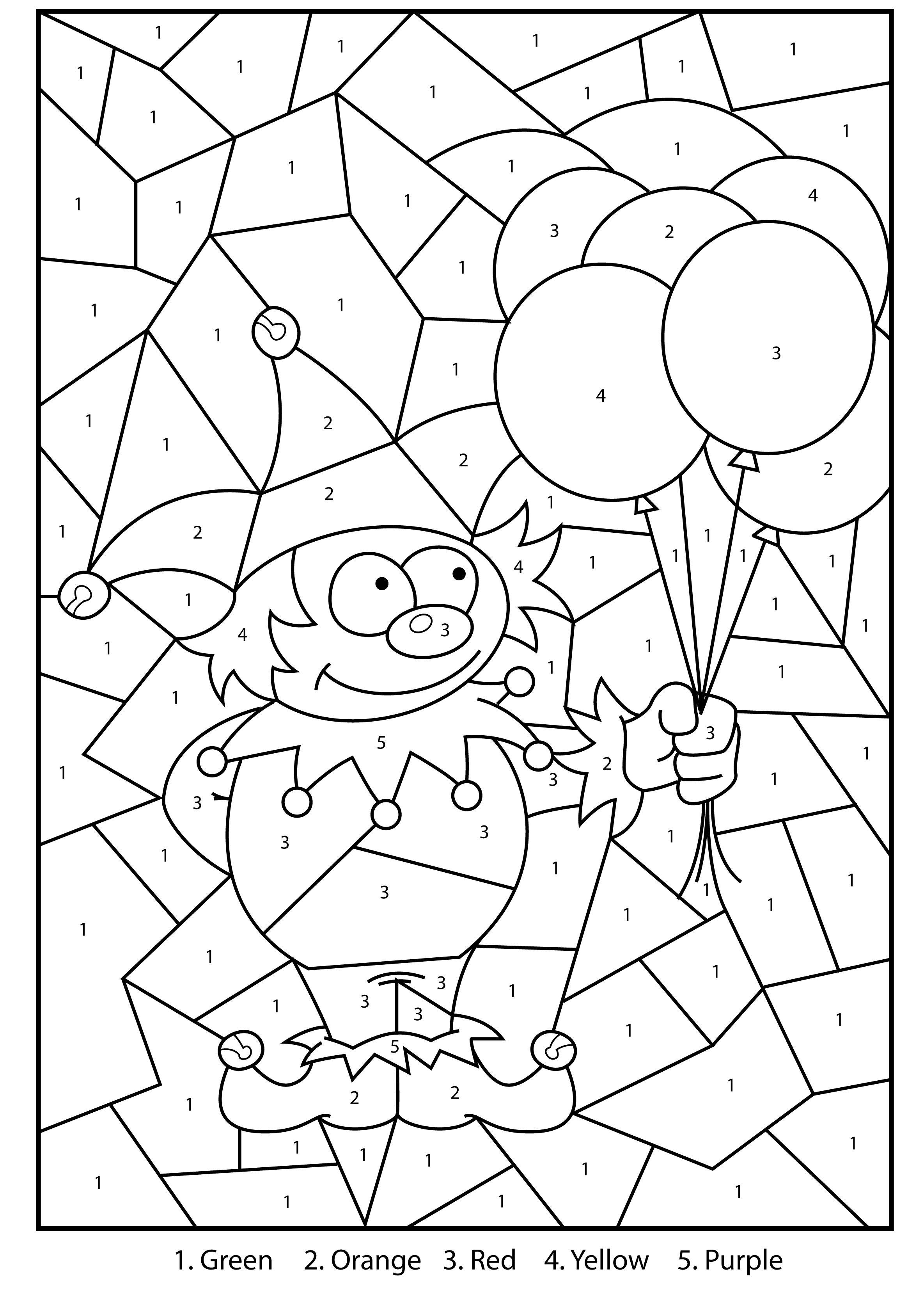 Free Printable Jester Colour By Numbers Activity For Kids ...