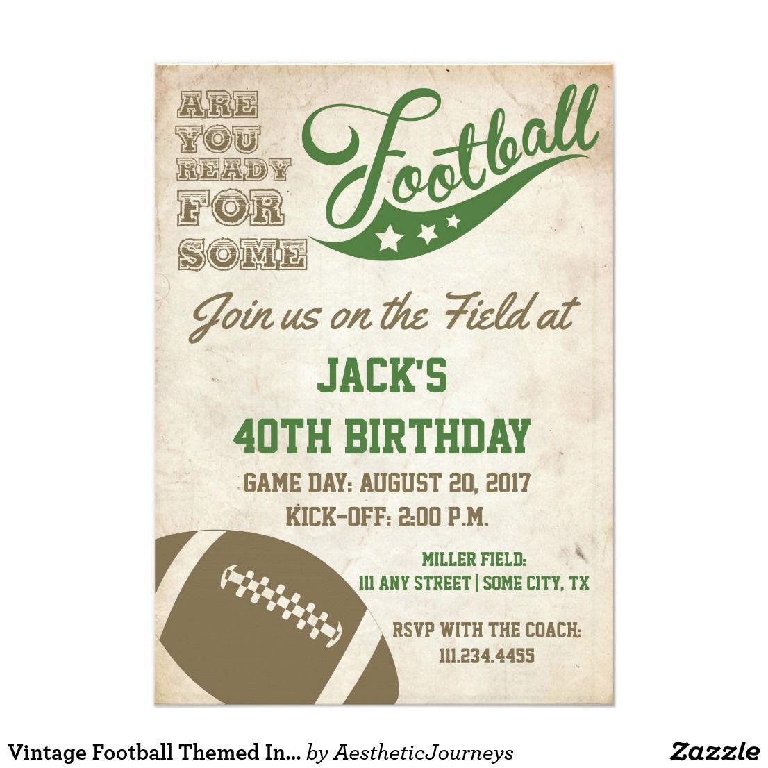 Vintage Football Themed Invite | Old School | Adult Birthday ...