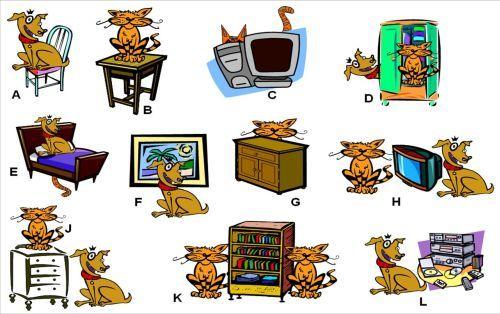 Dónde está el gato? prepositions | ele | Preposiciones de lugar ...