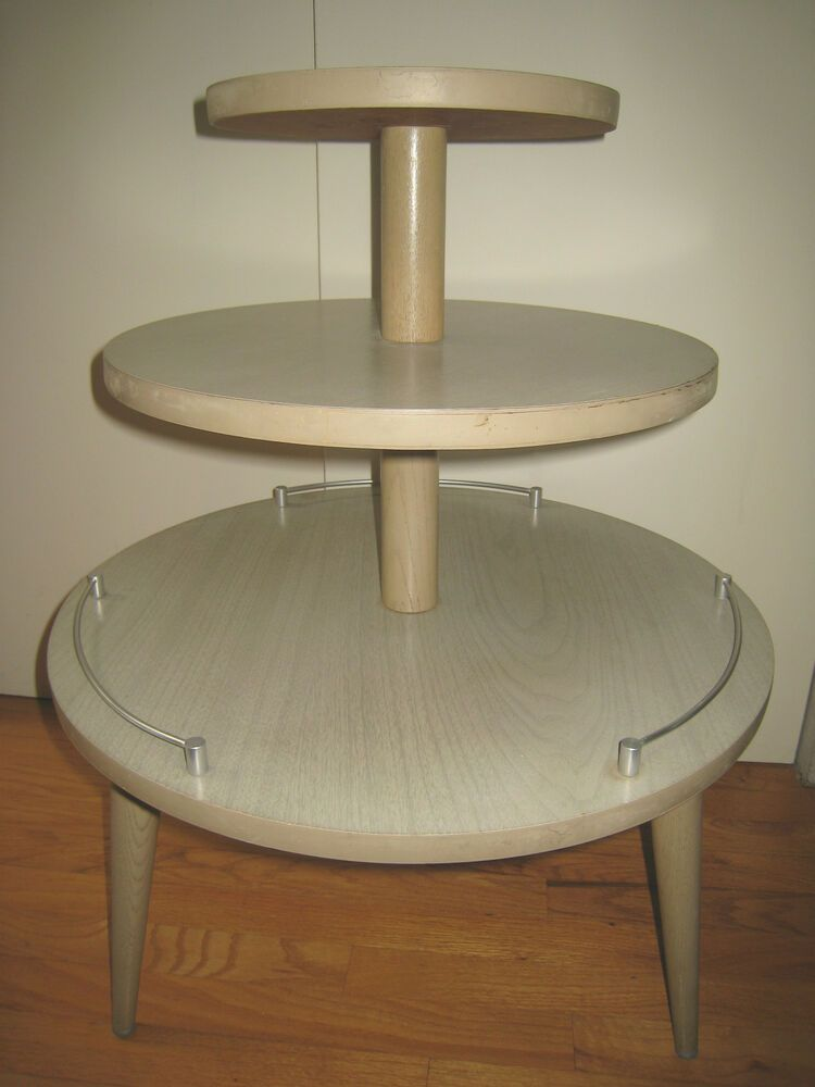 Vintage Mid Century 3 Tier Round Side Table Afflink When You Click On Links To Various Merchants On This Sit Glass Top End Tables Side Table Round Side Table