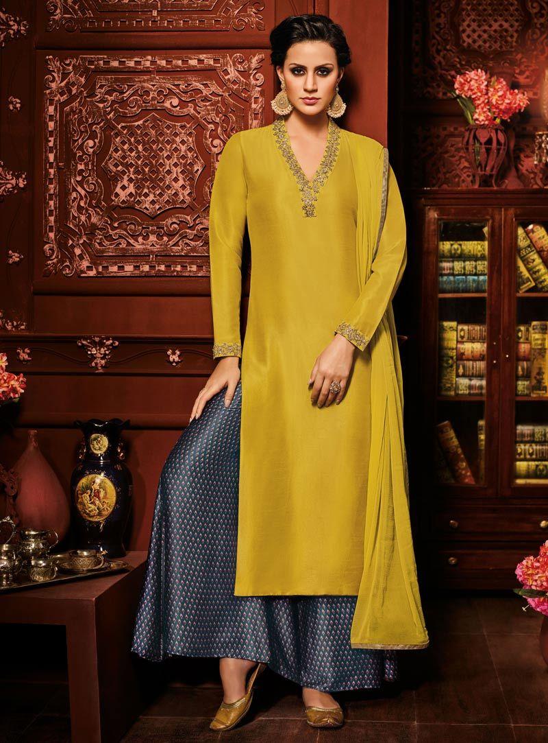 28b5c182e9 ... Salwar Suits Designs Idea 2019 - Buy lehenga choli online. Mustard Silk  Palazzo Style Suit 90832