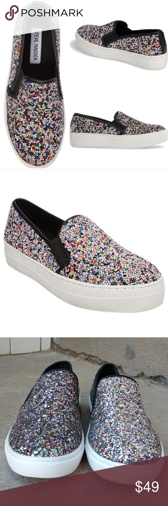 0659f2e7c40 STEVE MADDEN Gracious Glitter Slip On Sneakers Sparkling glitter in vibrant  colors glamorize a go-