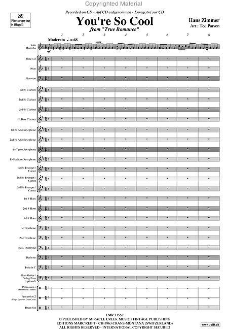 You Re So Cool Marimba Solo Sheet Music Youtube Videos Music