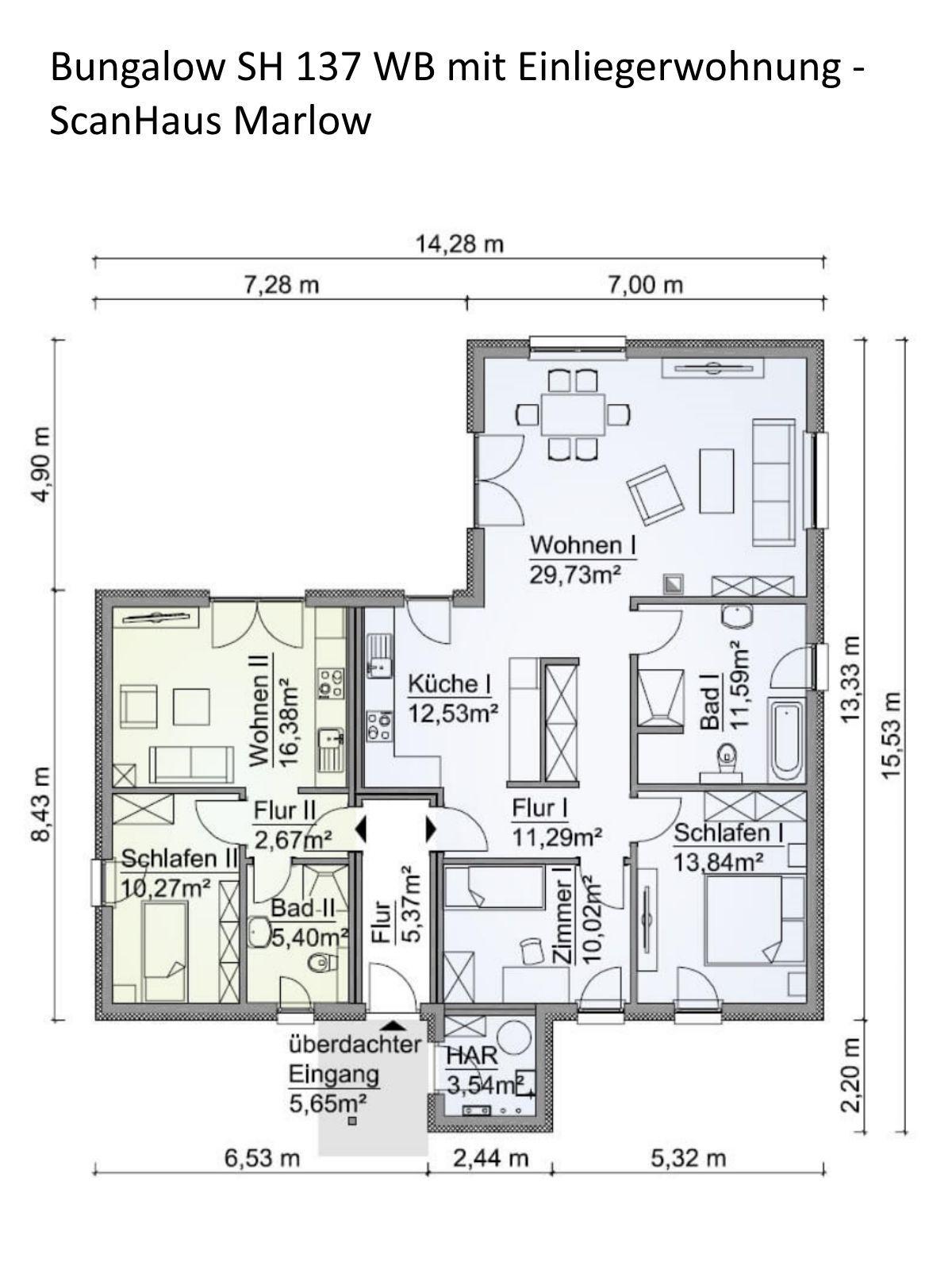 Grundriss Bungalow Haus mit Einliegerwohnung & Walmdach