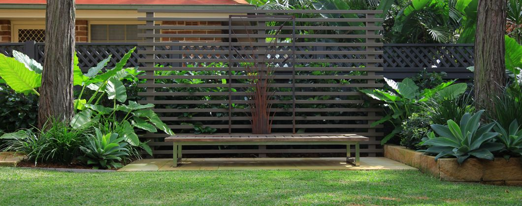 Timber bench surrounded by plants in a Sydney garden Garden
