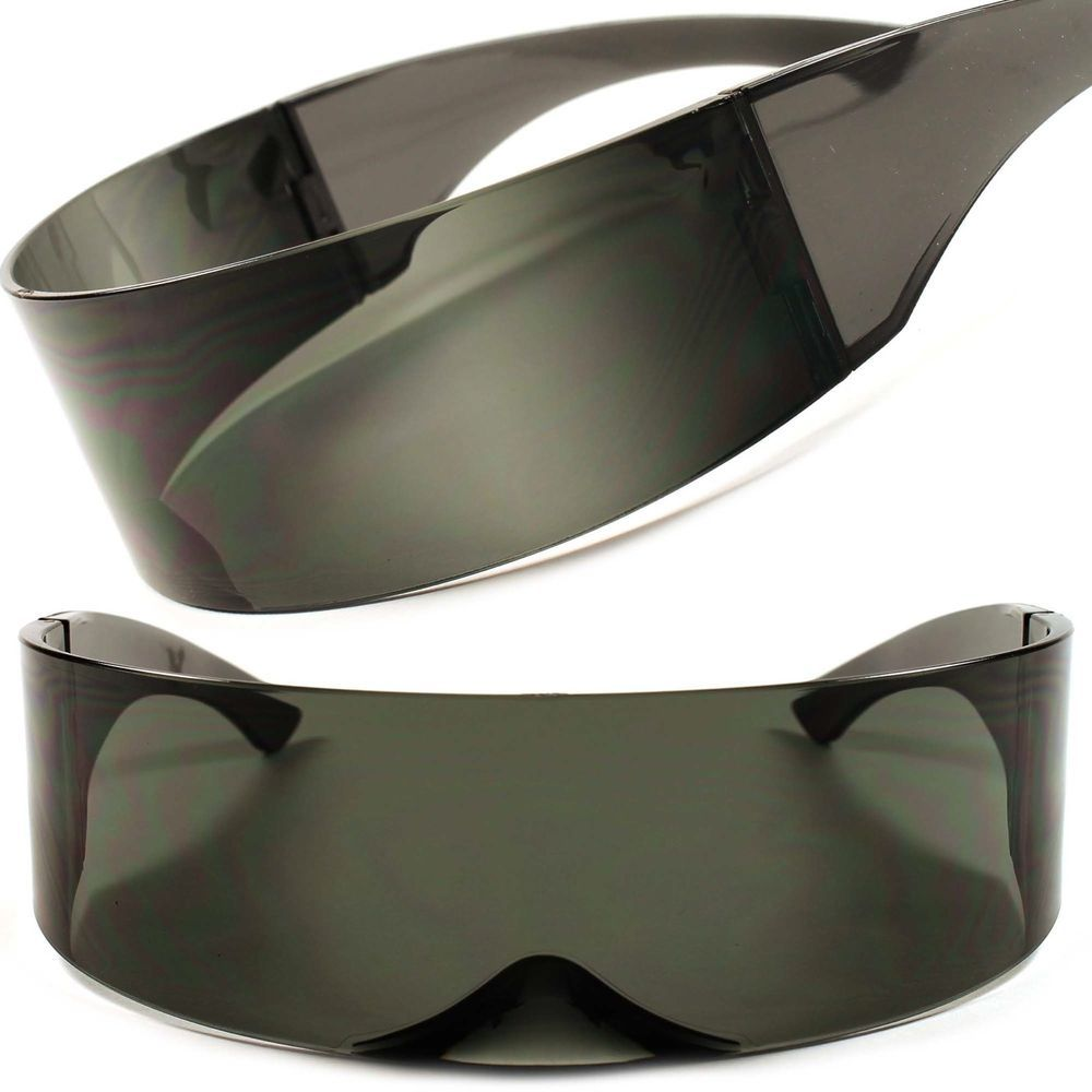 Futuristic Costume Silver RAVE Shield Mirrored Space Alien Robot Cyclops Glasses