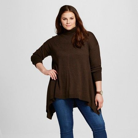 Women's Plus Size Sharkbite Turtleneck Tunic Sweater - Mossimo ...
