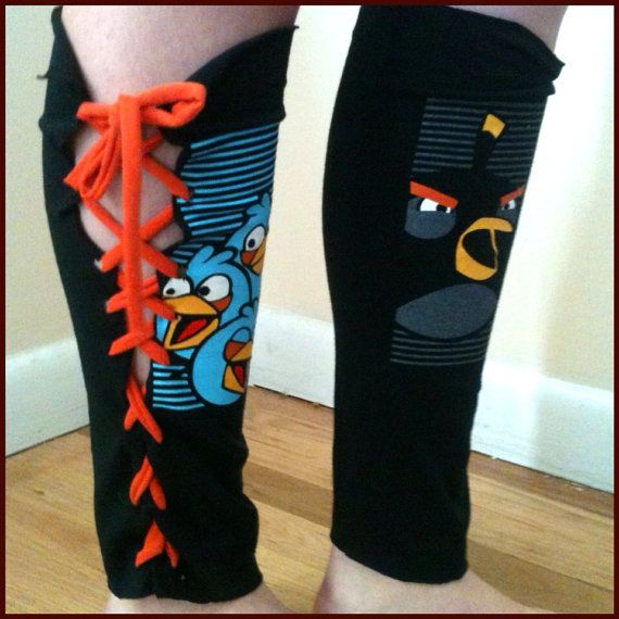Angry Birds Leg-warmers: Upcycled & Handmade on Etsy, $17.50