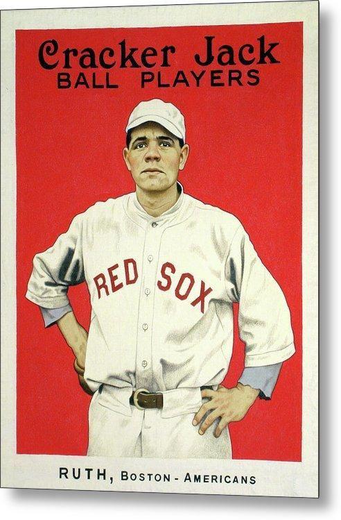 Vintage Babe Ruth Cracker Jack Poster Metal Print Babe Ruth Baseball Cards Baseball Memorabilia