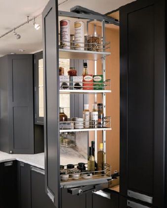 #Hafele Swing Pull Out For Your Pantry Makes Deep, Skinny Storage  Completely Accessible.