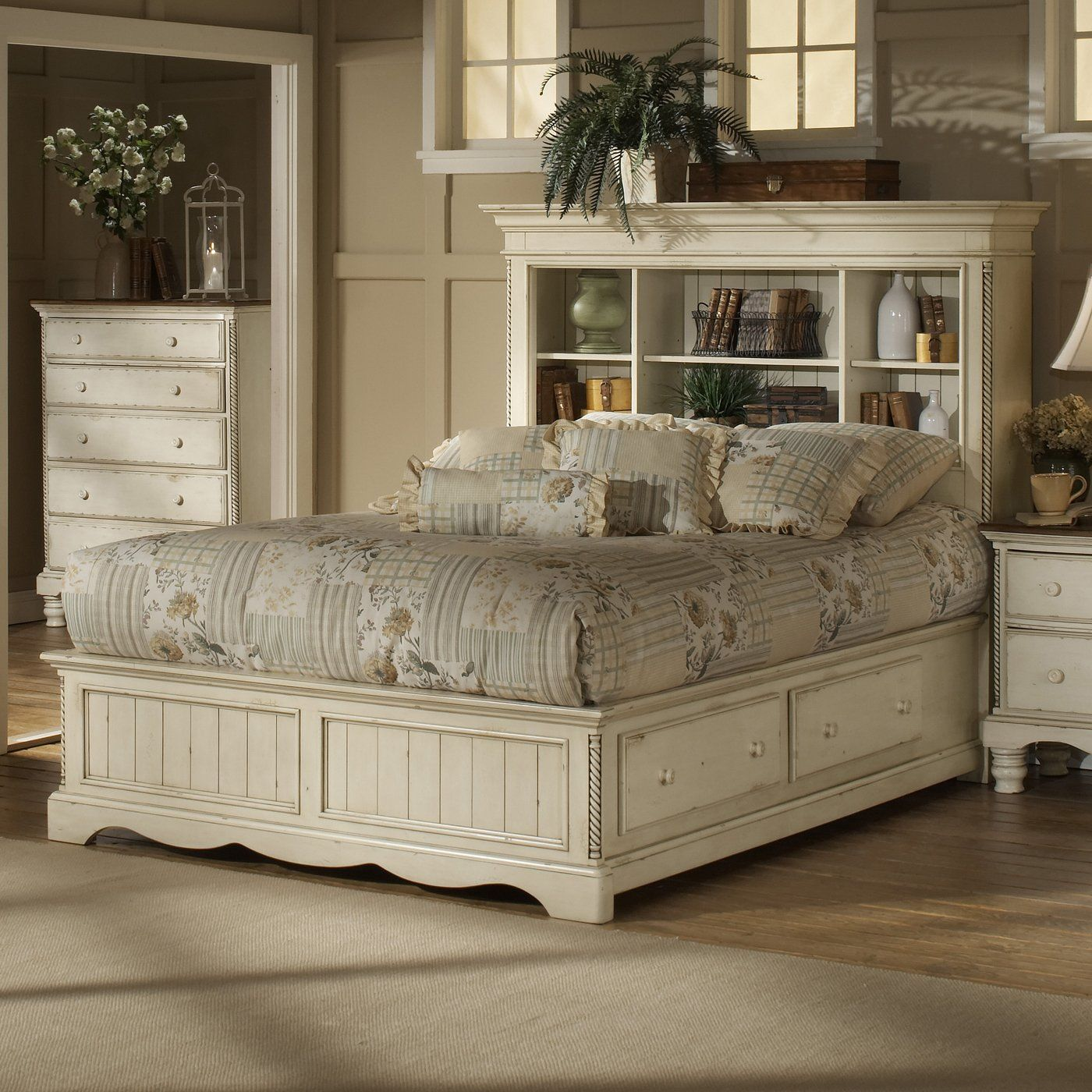 white bookcase storage bed. Beautiful Storage Hillsdale Furniture 1172 Wilshire Bookcase Storage Bed Antique White   Home Showroom For Bed E