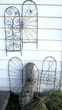 Beautiful Barbed Wire Spider Web Garden Trellis
