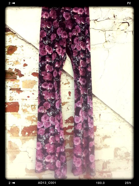 Floral velvet bell bottom flares various colours hippy by BOODWAH