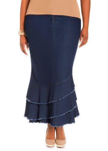 Ashley Stewart Women`s Plus Size Tiered Ruffle Denim Skirt - Listing price: $39.50 Now: $23.70