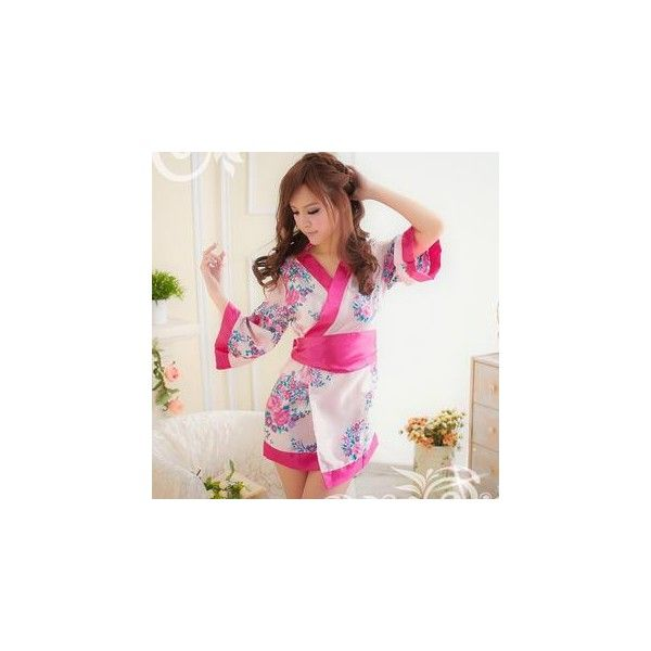 Floral Kimono Party Costume ($20) ❤ liked on Polyvore featuring costumes, innerwear, women, pink ladies halloween costume, party halloween costumes, womens costumes, ladies halloween costumes and pink lady halloween costume
