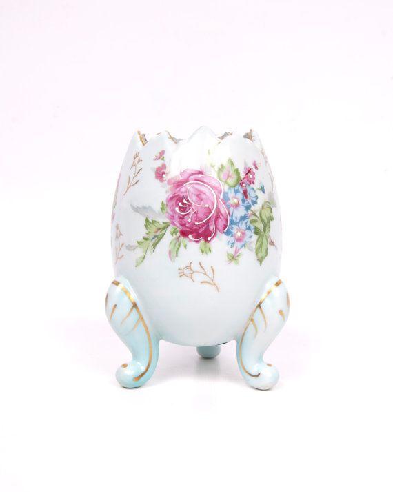 Vintage Porcelain Egg Shell Footed Vase Hand by LeVintageGalleria, $22.00