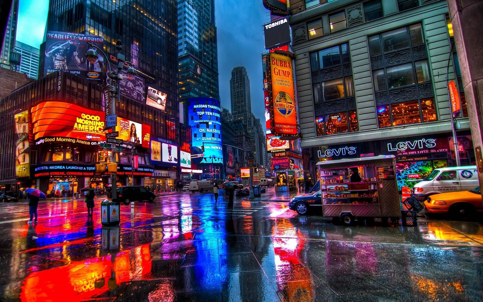 billboards times square new york city widescreen wallpaper 1920
