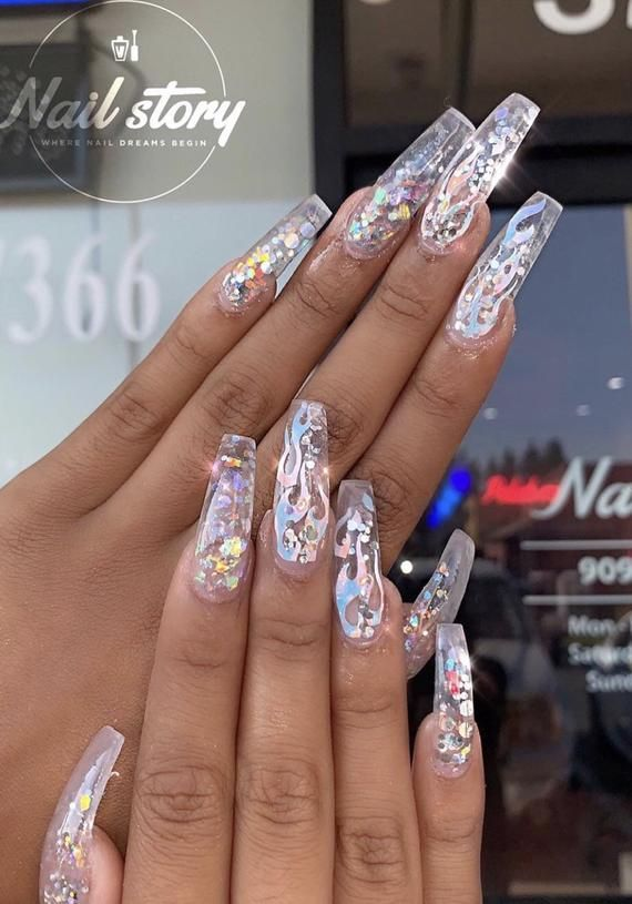Flame Nail Decals Etsy In 2020 Bling Acrylic Nails Swag Nails Coffin Nails Designs