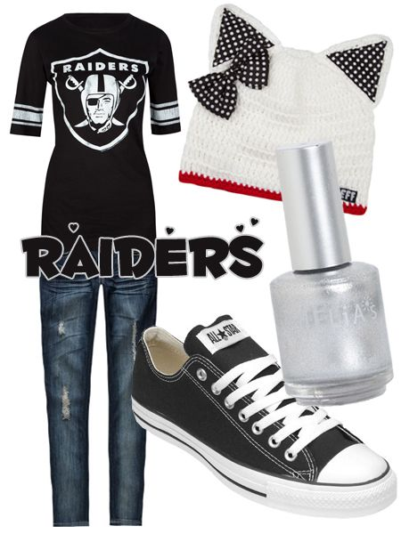 2d1bf8f28 Superbowl Outfit Ideas - Football Fashion - Oakland Raiders