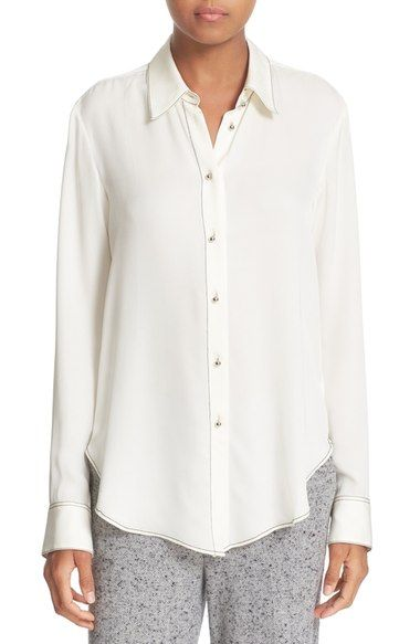 Theory 'Sunaya B Modern' Contrast Stitch Silk Georgette Blouse available at…