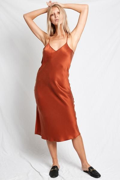 9bd82c980a20a 90S SILK SLIP DRESS RUST | Dream Wardrobe | Silk slip, Dresses, Slip on