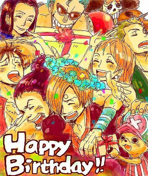 Happy Birthday Sanji Text Flower Crown Flowers Presents Straw Hat Crew Mugiwara Luffy Sanji Zoro Chopper U One Piece Funny One Piece Anime One Piece