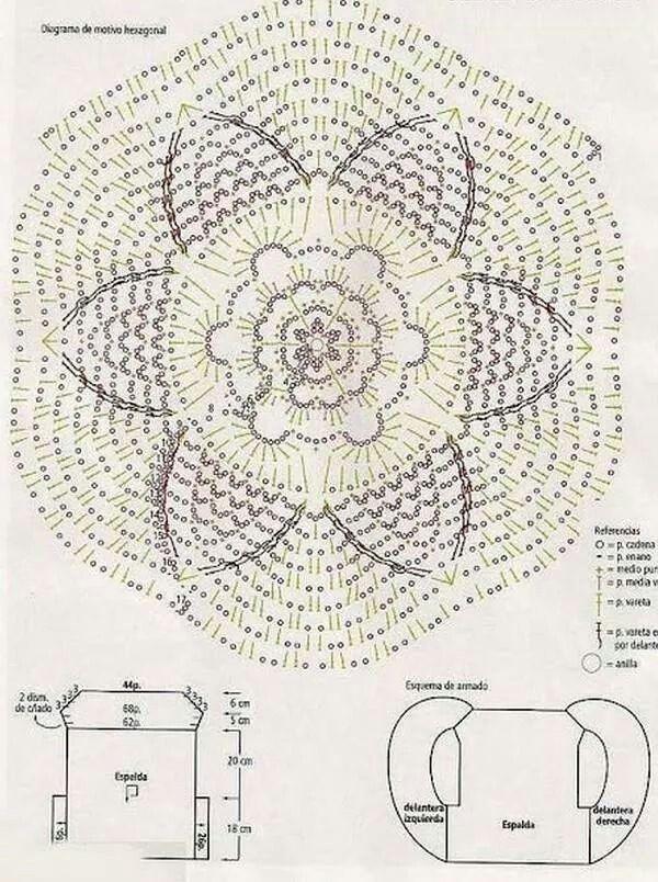 Esquema chaleco corto con flor | patrones para hacer lindas cosas ...