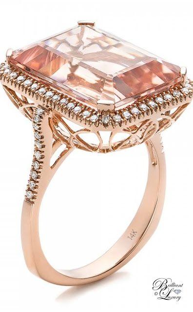 Brilliant Luxury by Emmy DE ♦Emerald Cut Morganite and Diamond Halo Ring