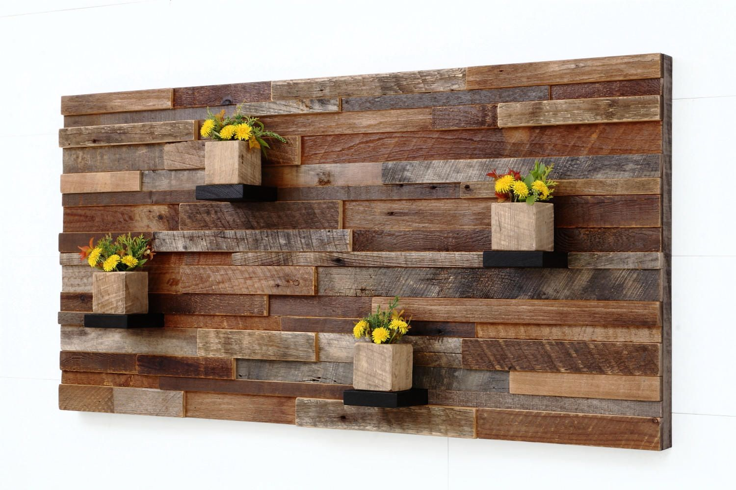 Wood Wall Art With Wood Shelves Made Of Reclaimed Barnwood From