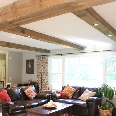 Nice Staircase Design Wood Beam Ceiling Living Room Remodel