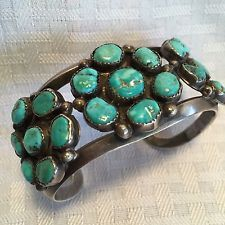 Old NAVAJO Cast Sterling Silver & TURQUOISE Cluster Cuff BRACELET
