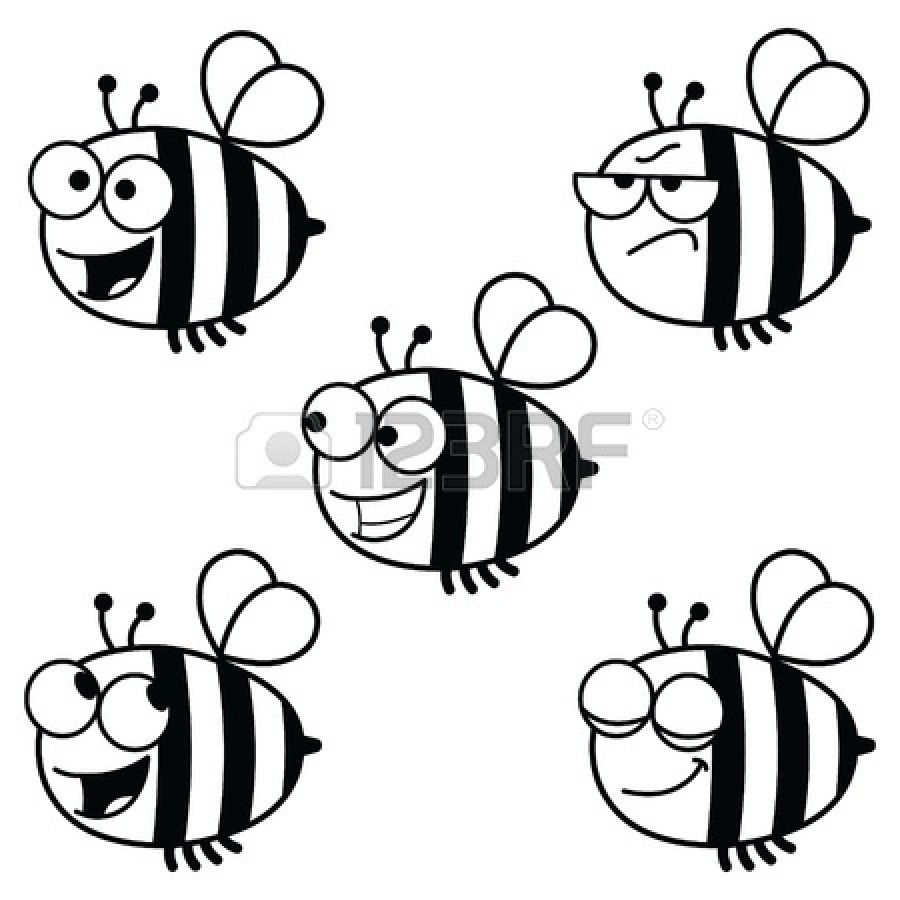 Black And White Cartoon Illustration Of A Set Of Bees In Various Black And White Cartoon Cartoon Illustration Cartoon Clip Art