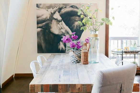 Via Audrey Veva Design on Domaine Home: this Park City cabin makeover features our Copper And Rivianna canvas.