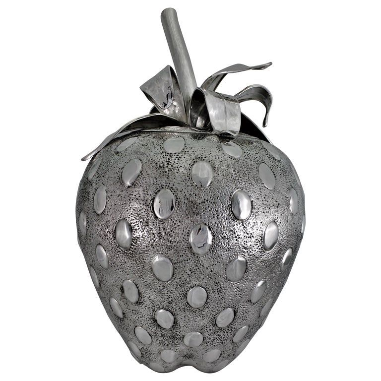 Photo of 20th Century Engraved Silver Strawberry Centerpiece Cover Venice Italy, 1930s