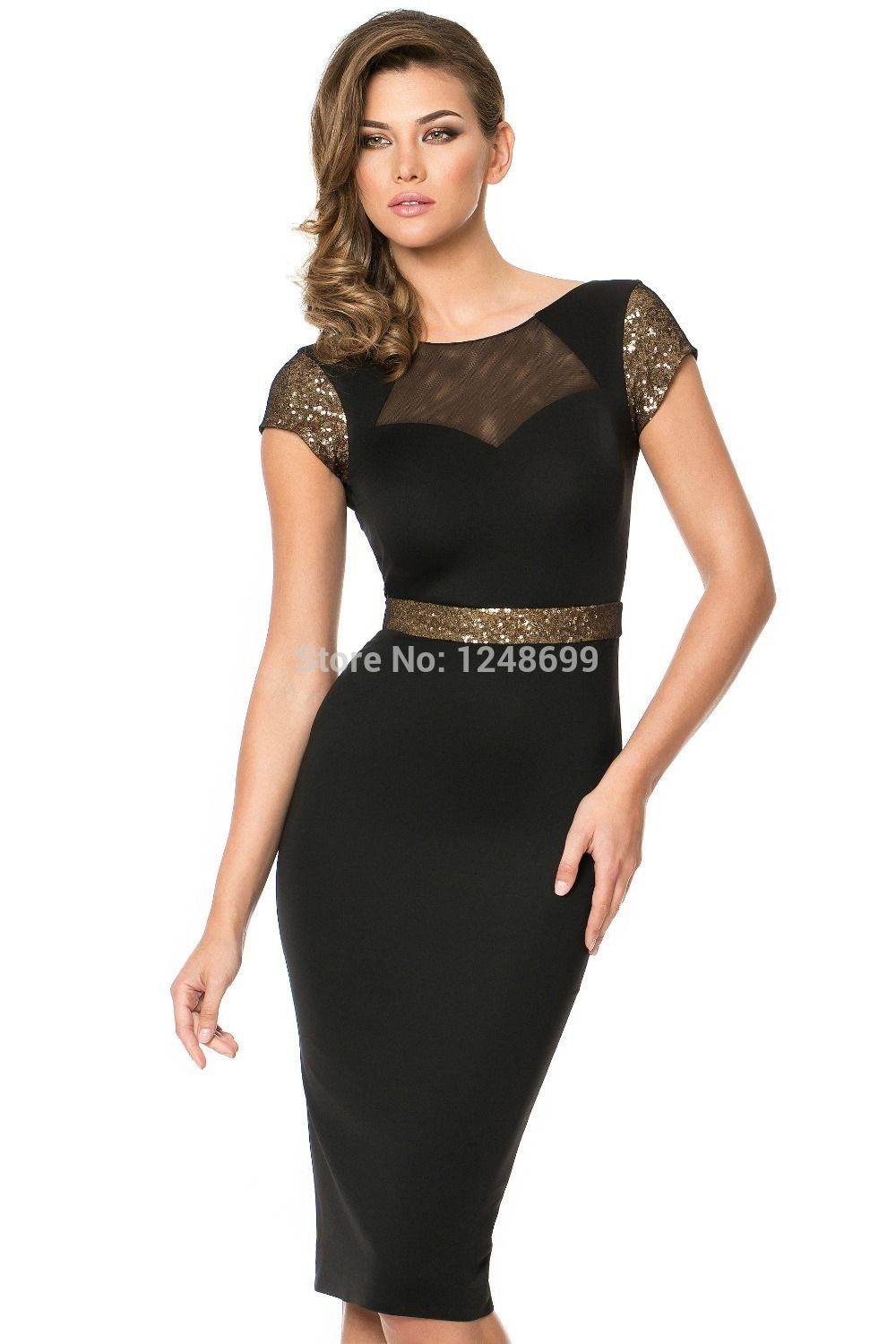 Lace dresses black cocktail dresses with short sleeves promgirl