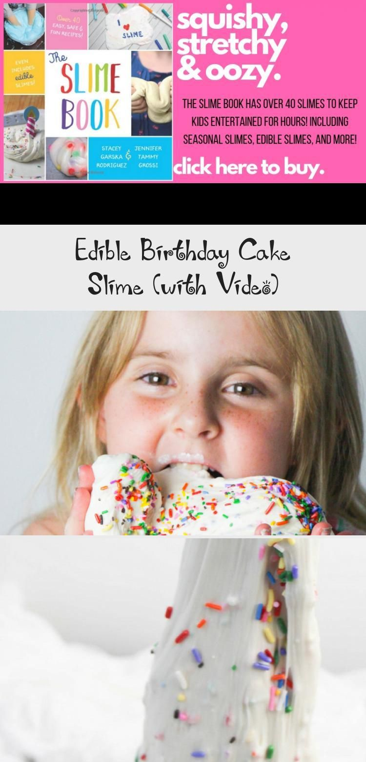 Edible Birthday Cake slime - a fun edible slime recipe made with ingredients you already have in your kitchen! Tastes just like vanilla birthday cake #slimevideo #slimerecipe #edibleslime #craftvideo #SSG #sensoryplay #BirthdaycakesForDad #BirthdaycakesPhotography #16thBirthdaycakes #EasyBirthdaycakes #BirthdaycakesDisney #edibleslime
