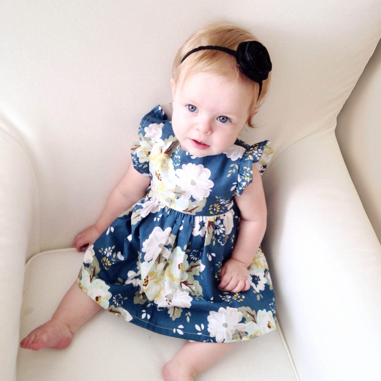 Baby Girl Dresses Navy Blue Baby Dress Camellia by LucyLemonShop