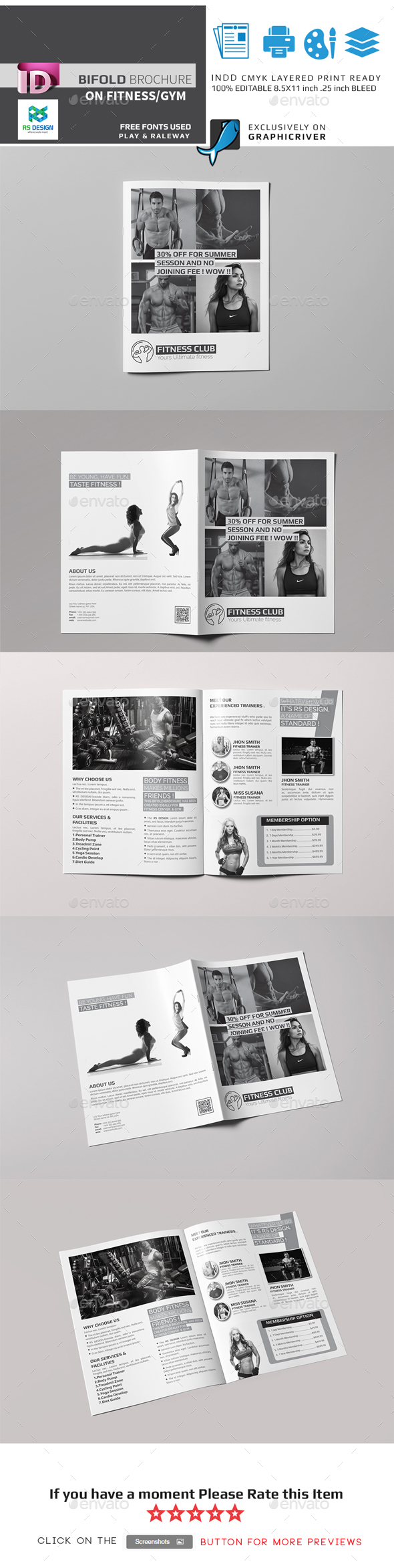 Bifold Brochure For FitnessGym Template Indesign Indd Download