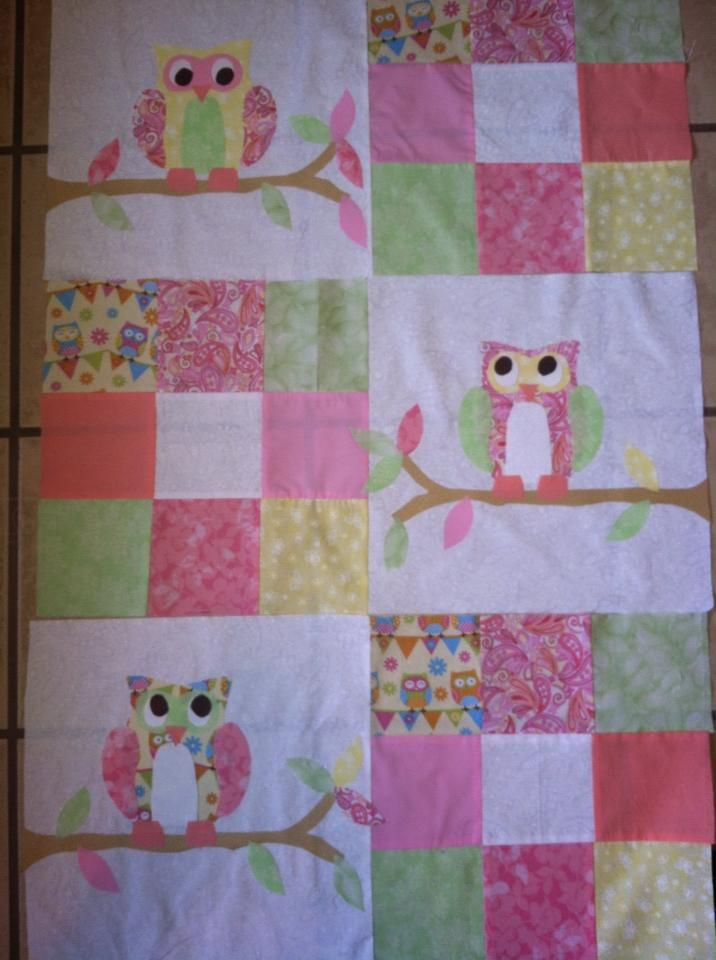 owl quilt for a baby girl