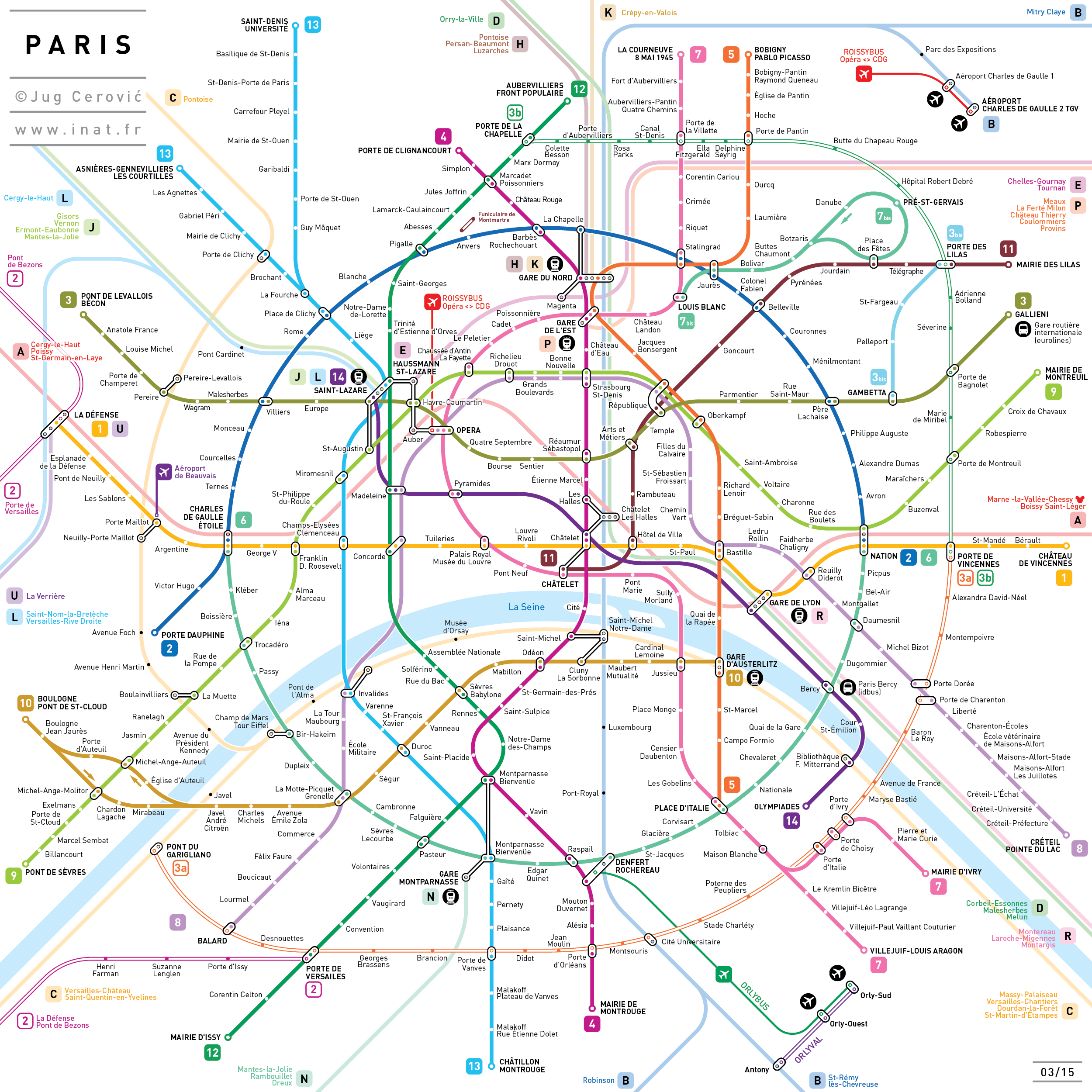 Jug Cerovi Metro map Paris This metro map was made in an