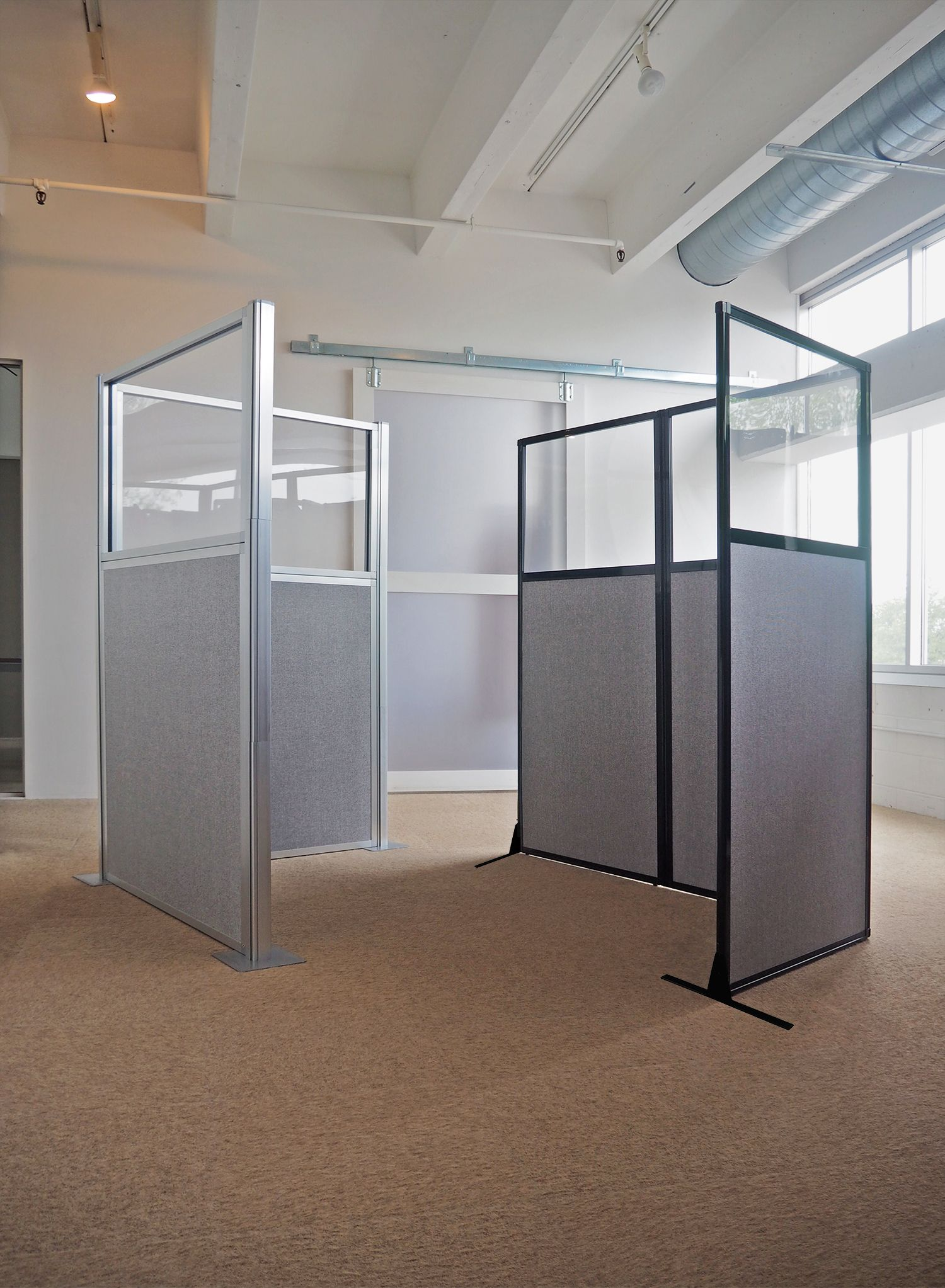 Versare 39 s hush panels and work station screens help create for Cubicle privacy ideas