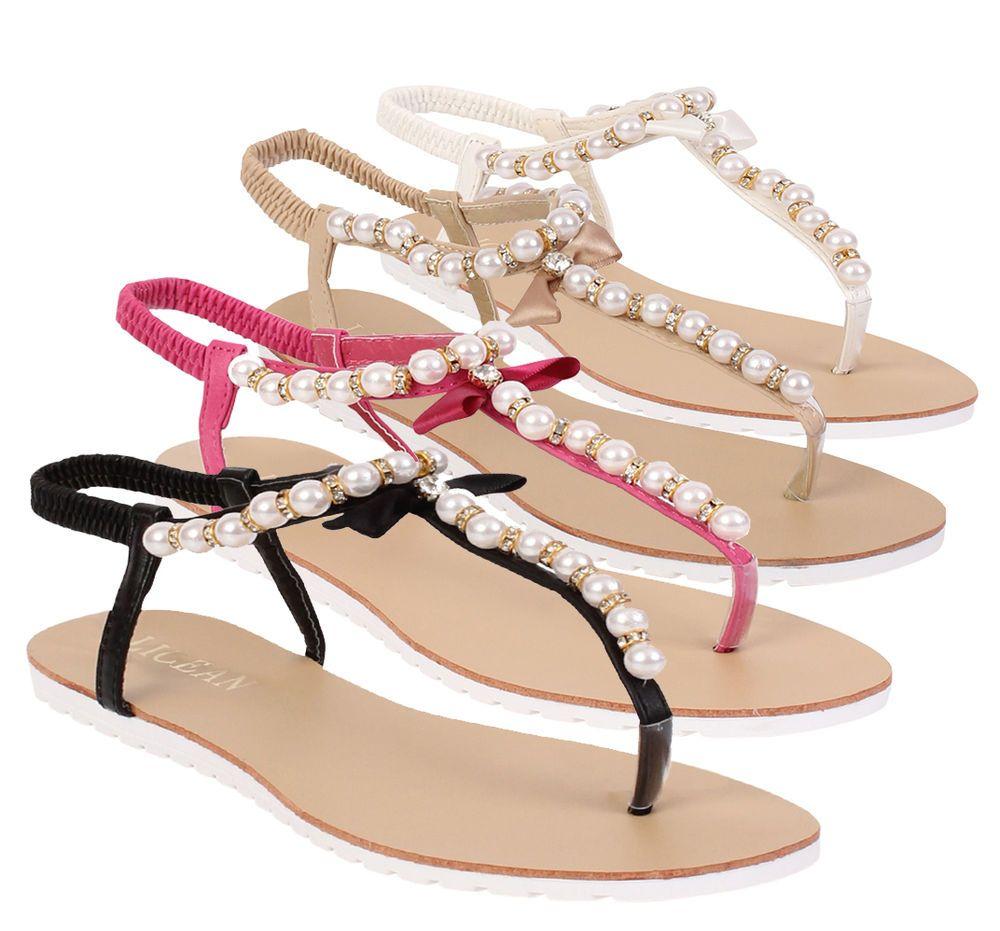 New Ladies Womens Slip On  Summer Toe Post Pearls Sandal Flip Flops all Sizes