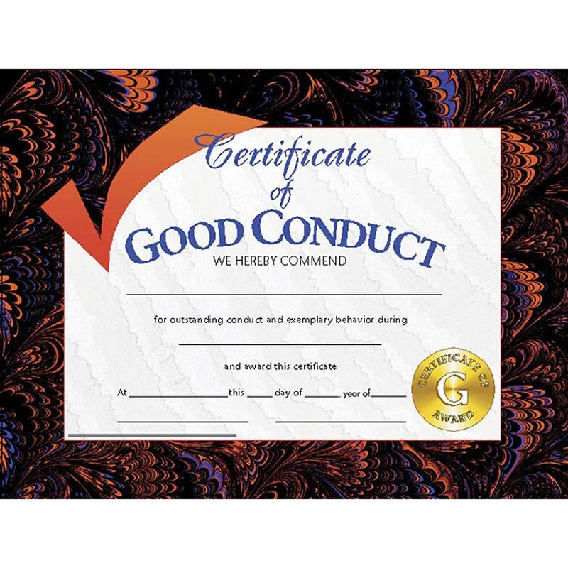 (6 Pk) Certificates Good Conduct In 2019