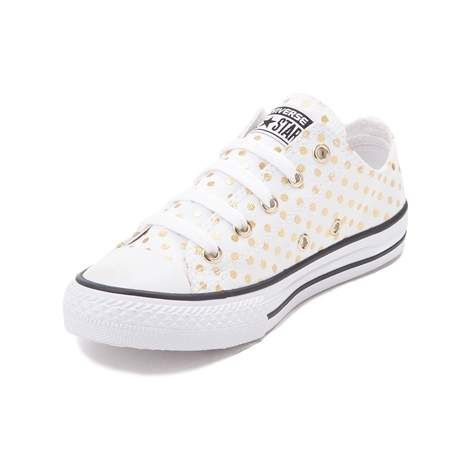 timeless design a80c3 84791 White converse with Gold Polka dots |Journeys Kids | | shoes ...