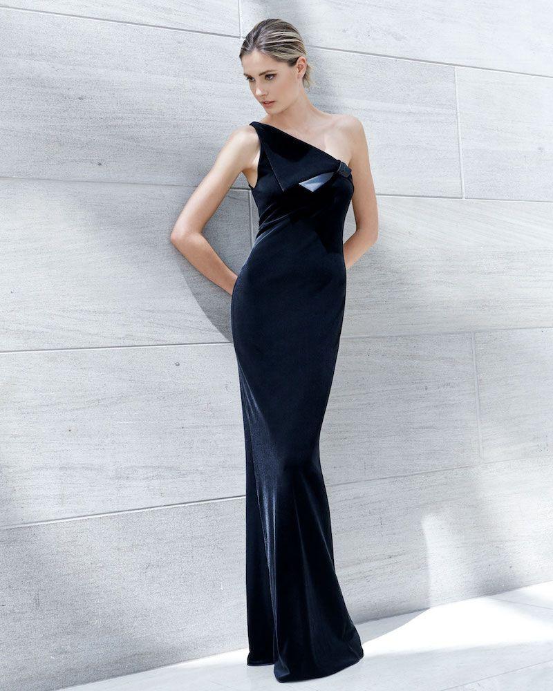 3d363c46410 Emporio Armani One-Shoulder Velvet Jersey Column Evening Gown with Satin  Trim