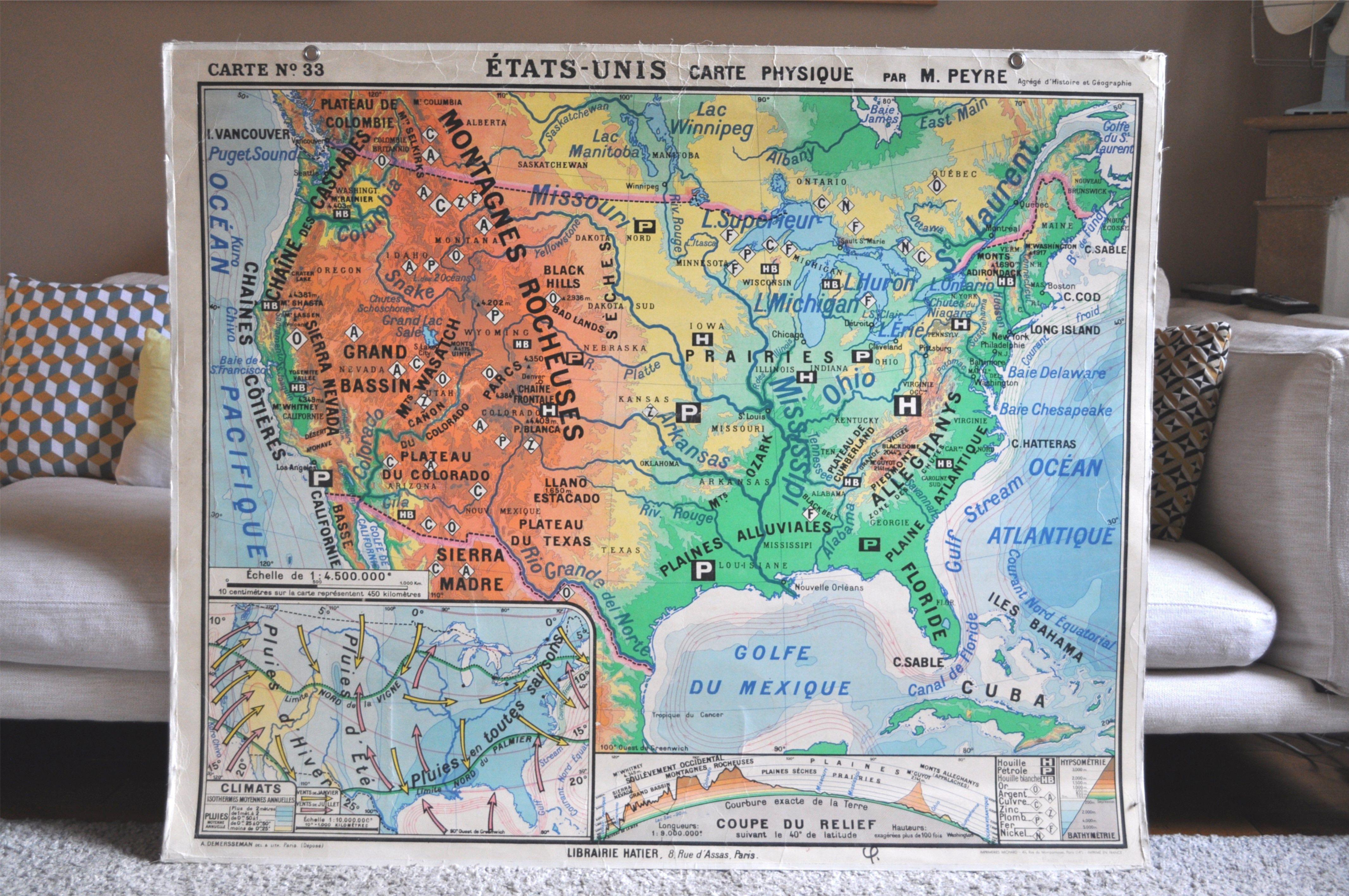 Carte Scolaire Etats Unis Par M Peyre Annees 60 Carte
