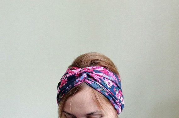 Floral turban twist jersey headband wide by EvergreenGarden, $14.90